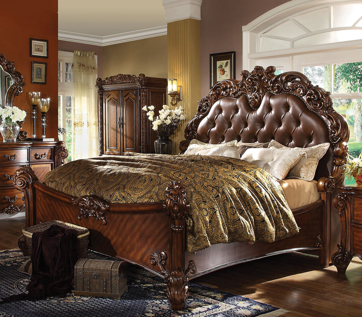 Acme Vendome Cherry Pu California King Sleigh Bed