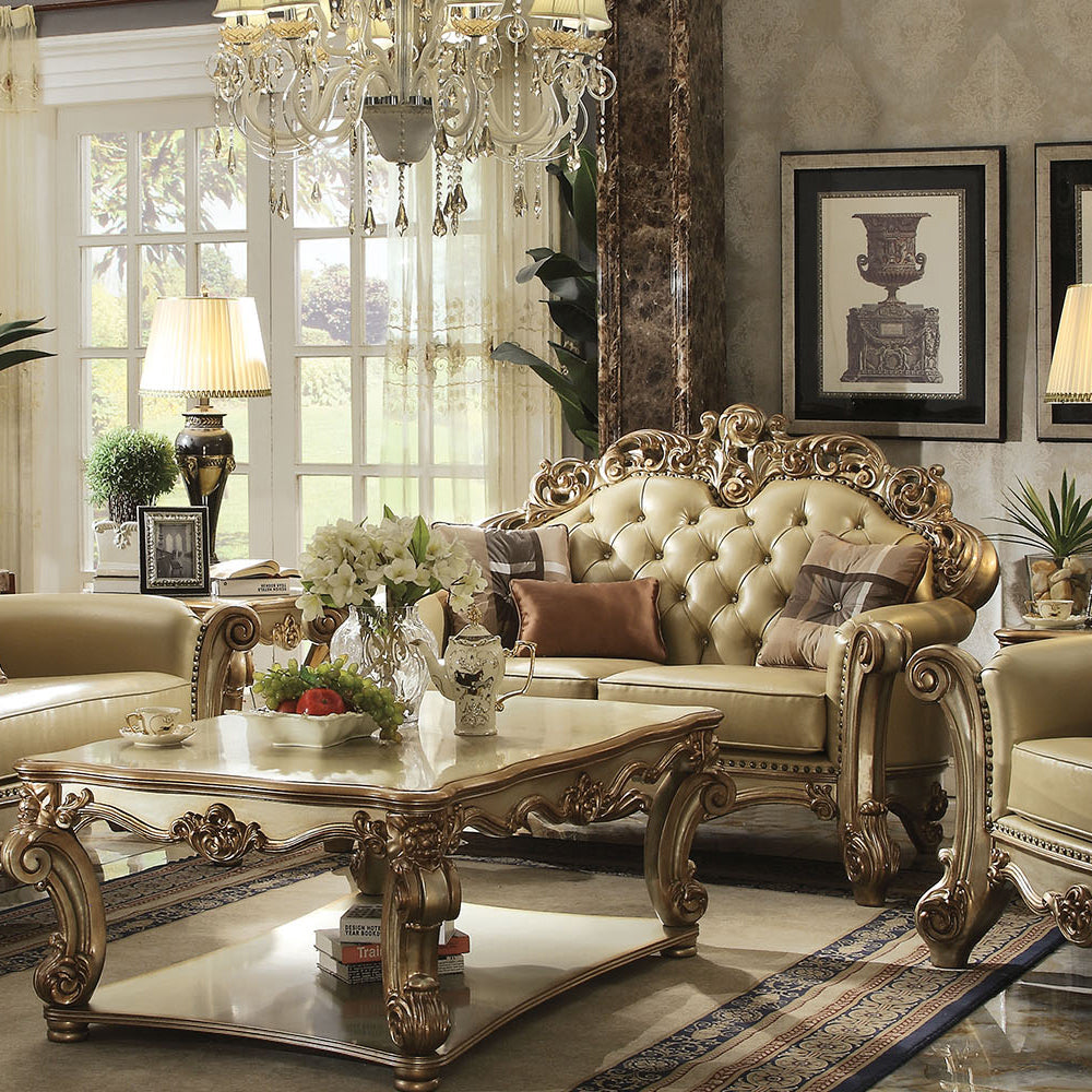 Acme 53001 Vendome Gold Patina Loveseat with Pillows