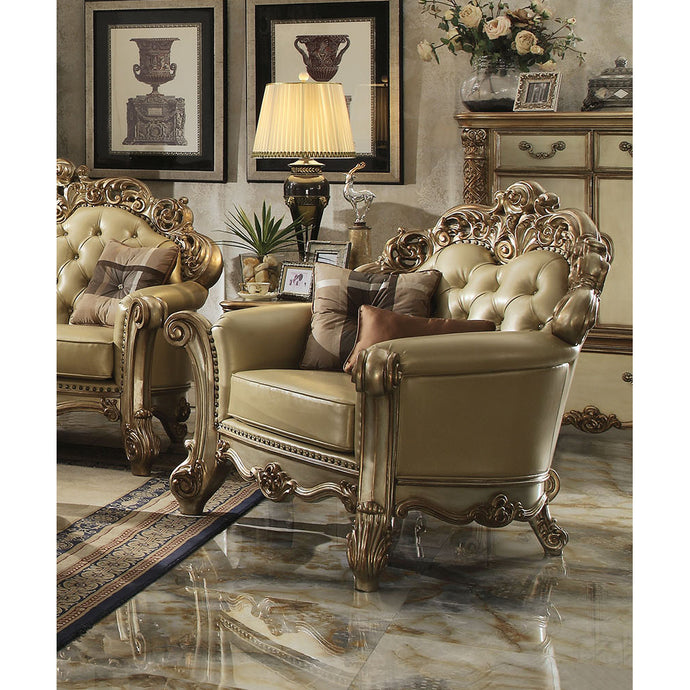 Acme Vendome Gold Patina Chair with Pillows