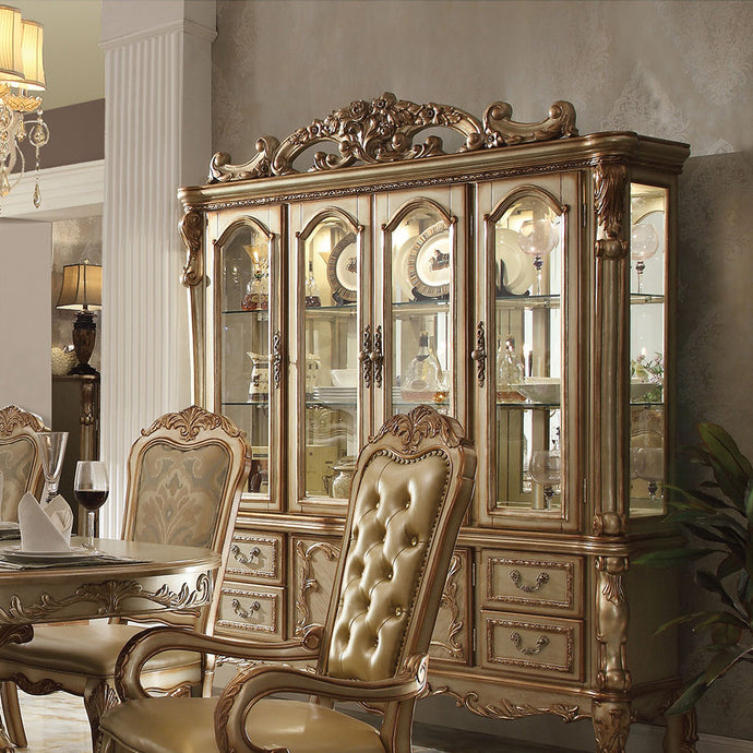 Acme 63155 Dresden Gold Patina Storage Buffet Hutch China Cabinet