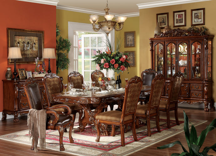 Acme 12150 9 Pieces Dresden Cherry Oak Pedestal Dining Table Set Leaves
