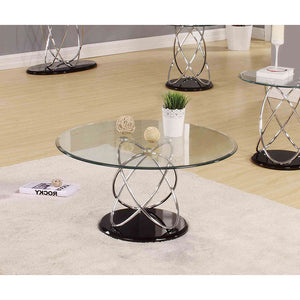 Acme 80795 Deron Chrome and Black Coffee Table