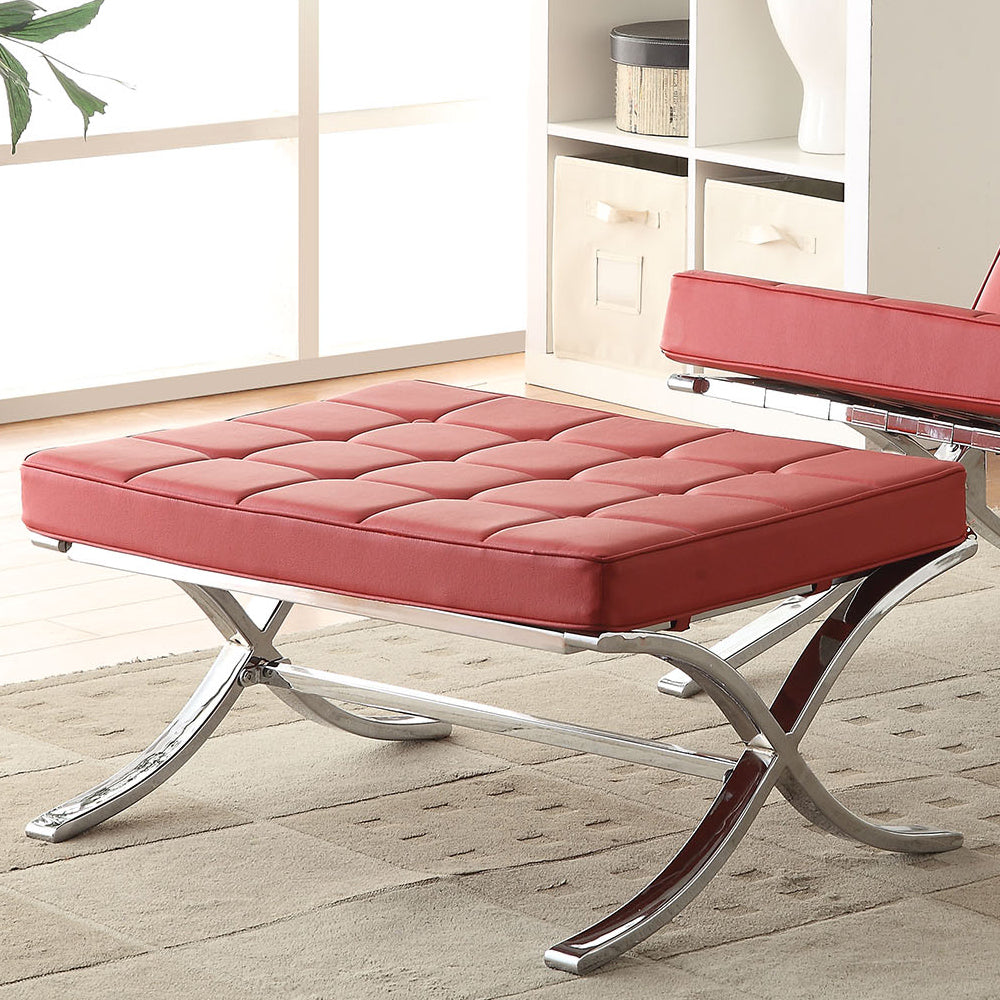 Acme Elian Red PU Chrome Ottoman