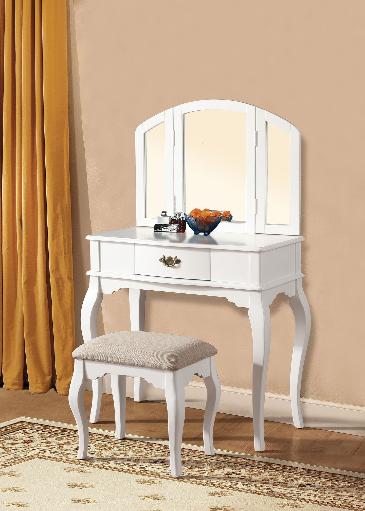 Acme Maren White Drawer Vanity Set Trifold Mirror Stool