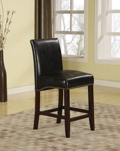 Acme Jakki Black Bycast PU And Wood Finish 2 Piece Counter Height Bar Chair