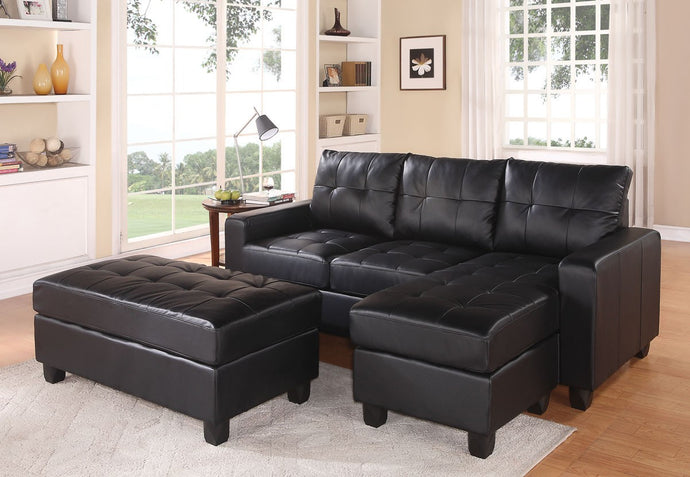 Acme 51215 Lyssa Black Bonded Leather Match Sectional Sofa