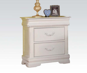 Acme Classique White Wood Finish 2 Drawer Nightstand