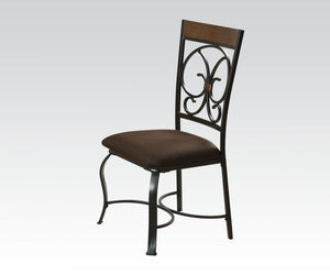 Acme Jassi Dark Cherry Metal Finish 2 Piece Dining Side Chair