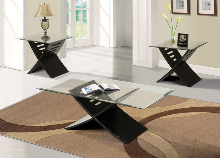 Acme 80830 Elhan Black 3 Pieces Glass Top Coffee and End Table Set