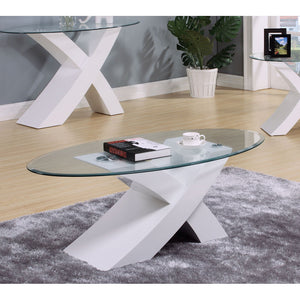 Acme Pervis White Coffee Table with Glass Top