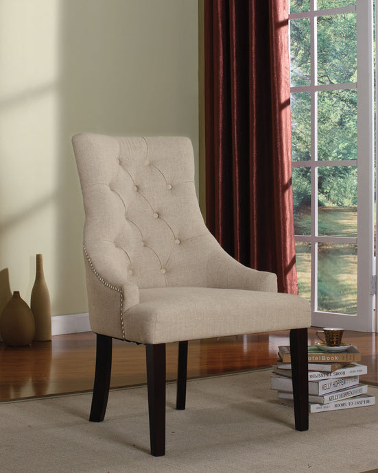 Acme Drogo Cream Fabric And Wood Finish 2 Piece Dining Chair