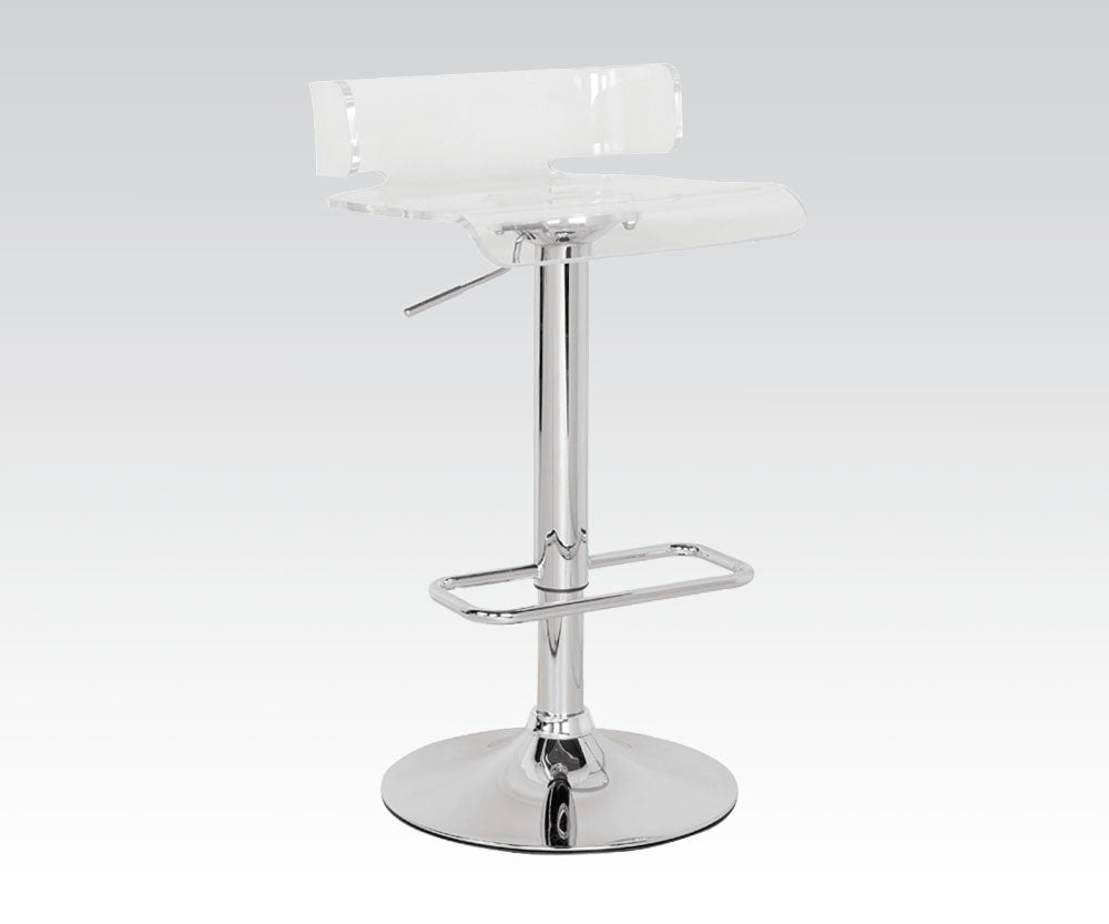 Acme Rania Chrome Clear Adjustable Bar Stool