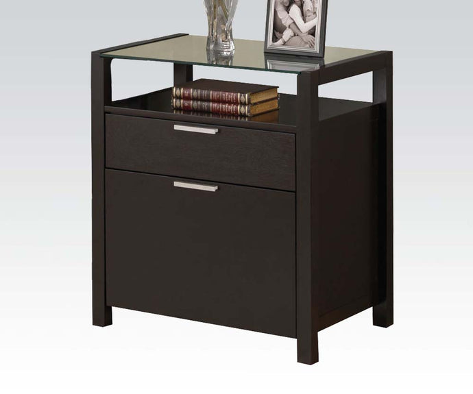 Acme Loakim Wenge File Cabinet with Glass Top