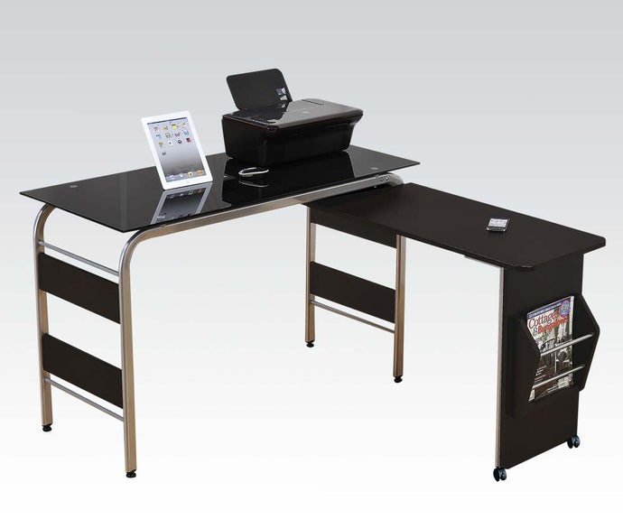 Acme Garion Chrome Metal and Black Tempered Glass Computer Desk