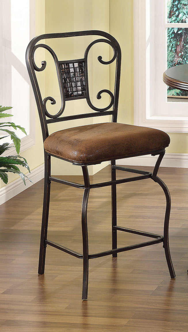 Acme Tavio Fabric Antique Bronze Metal Finish 2 Piece Counter Height Chair