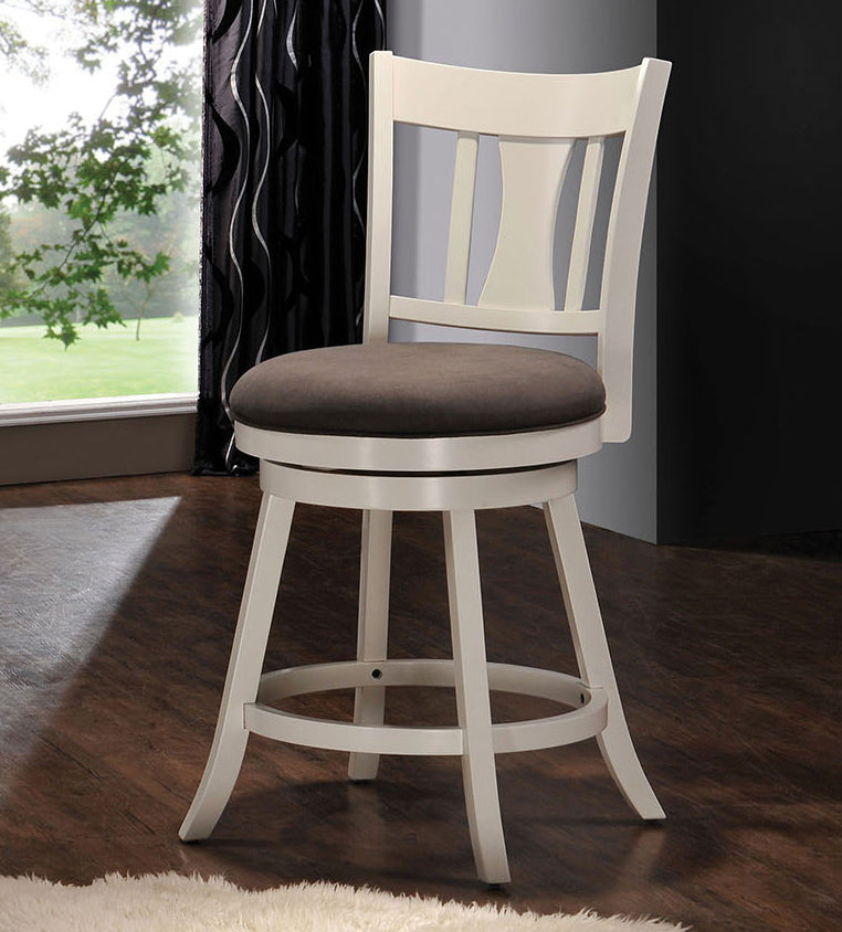 Acme Tabib White Wood Finish Swivel Counter Height Chair
