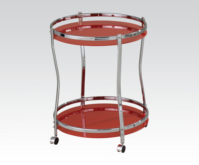 Acme Corey Chrome Round Red Tempered Glass Serving Cart