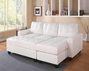Acme 51210 Lyssa White Bonded Leather Match Sectional Sofa