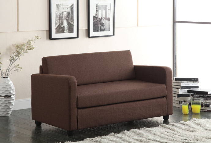 Acme Conall Chocolate Fabric Adjustable Sofa Bed Futon Sleeper