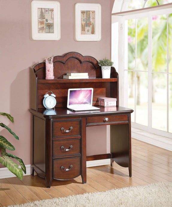 Acme Cecilie Cherry Youth Drawer Student Desk With Hutch