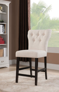 Acme Effie Beige Linen Finish 2 Piece Counter Height Dining Chair