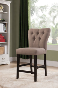 Acme Effie Light Brown Linen And Wood Finish 2 Piece Counter Height Chair
