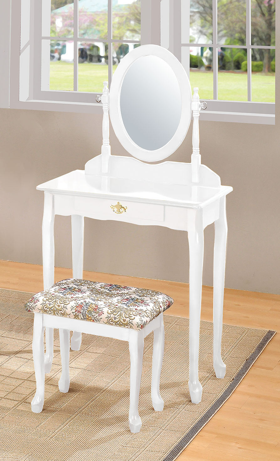 Acme WH Queen Anne White Drawer Vanity Set Mirror Stool