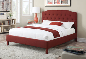 Acme 25000Q Clive Red Linen Finish Contemporary Queen Platform Bed