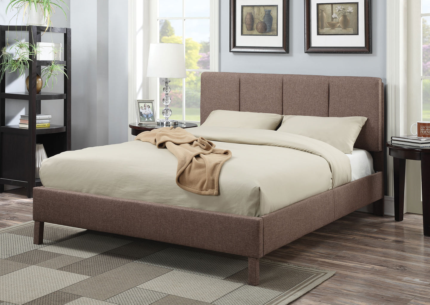 Acme Light Brown Linen King Platform Bed