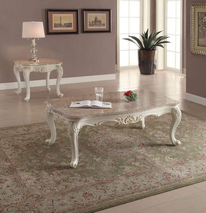 Acme Chantelle Pearl White Faux Marble Top Coffee Table Set