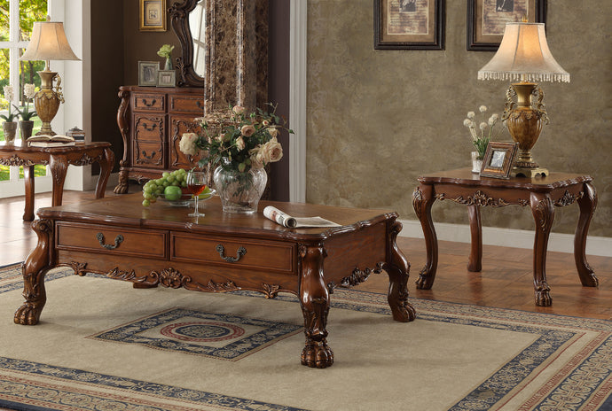 Acme Dresden Cherry Oak Coffee Table Set with Drawers