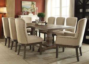 Acme 60737 Landon 9 Pieces Salvage Brown Pedestal Dining Set with Leaf