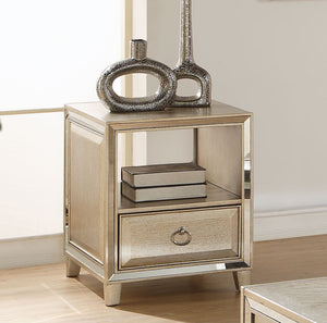 Acme Voeville Antique Gold End Table with Drawer