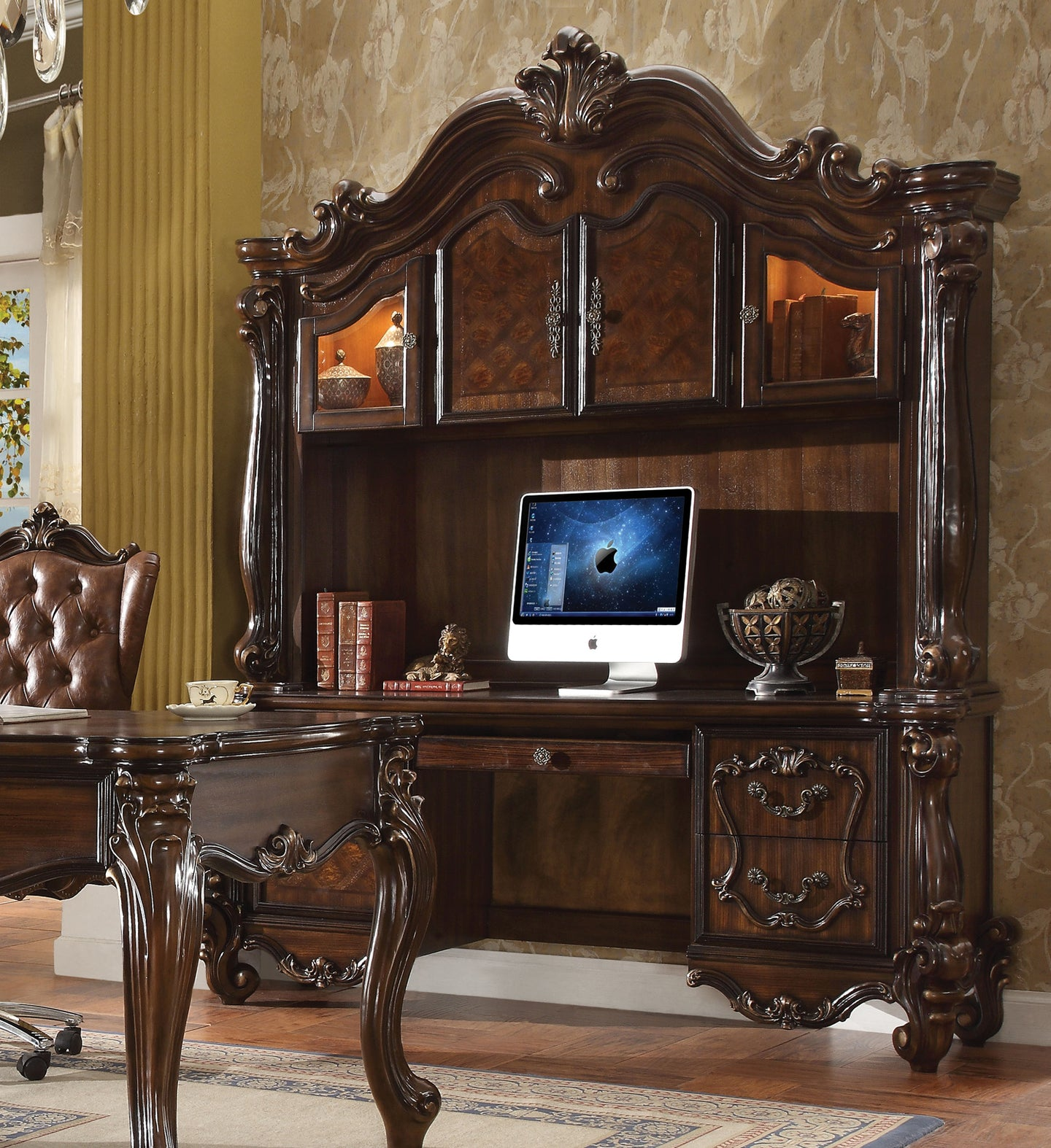 Acme 92284 Versailles Cherry Oak Wood Finish Computer Desk With Hutch