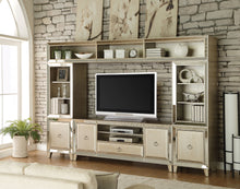 Load image into Gallery viewer, Acme 91200 Voeville 4 Pieces Antique Gold Entertainment Center Set