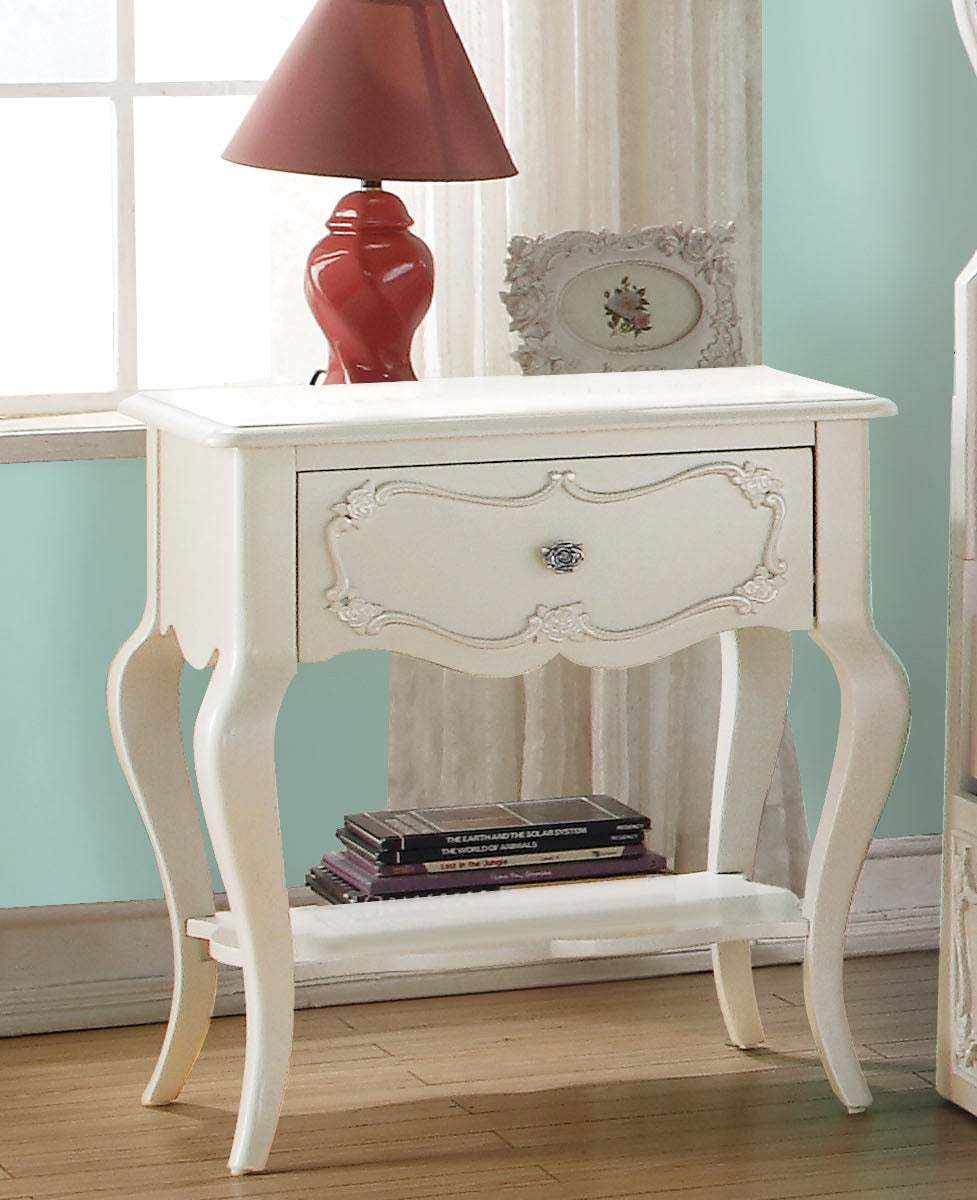 Acme 30509 Edalene Pearl White Girl Drawer Night Stand