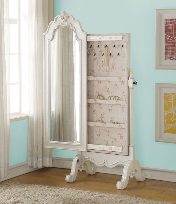 Acme 30520 Edalene Pearl White Girl Jewelry Armoire Mirror