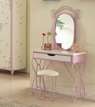 Load image into Gallery viewer, Acme 30539 Priya Silver Metal Girl Vanity Desk With Mirror and Stool