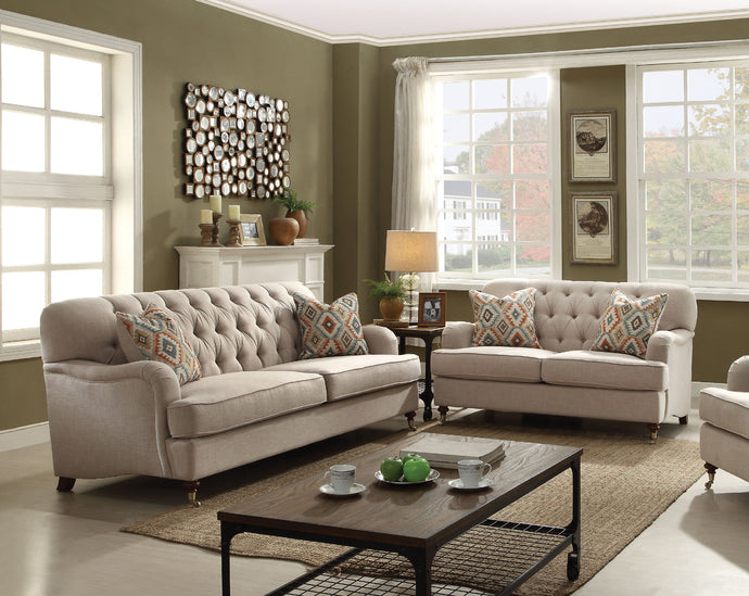 Acme 52580 Alianza 2 Pieces Beige Fabric Sofa Set Loveseat