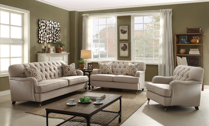 Acme Alianza Beige Fabric Sofa Set Loveseat Chair
