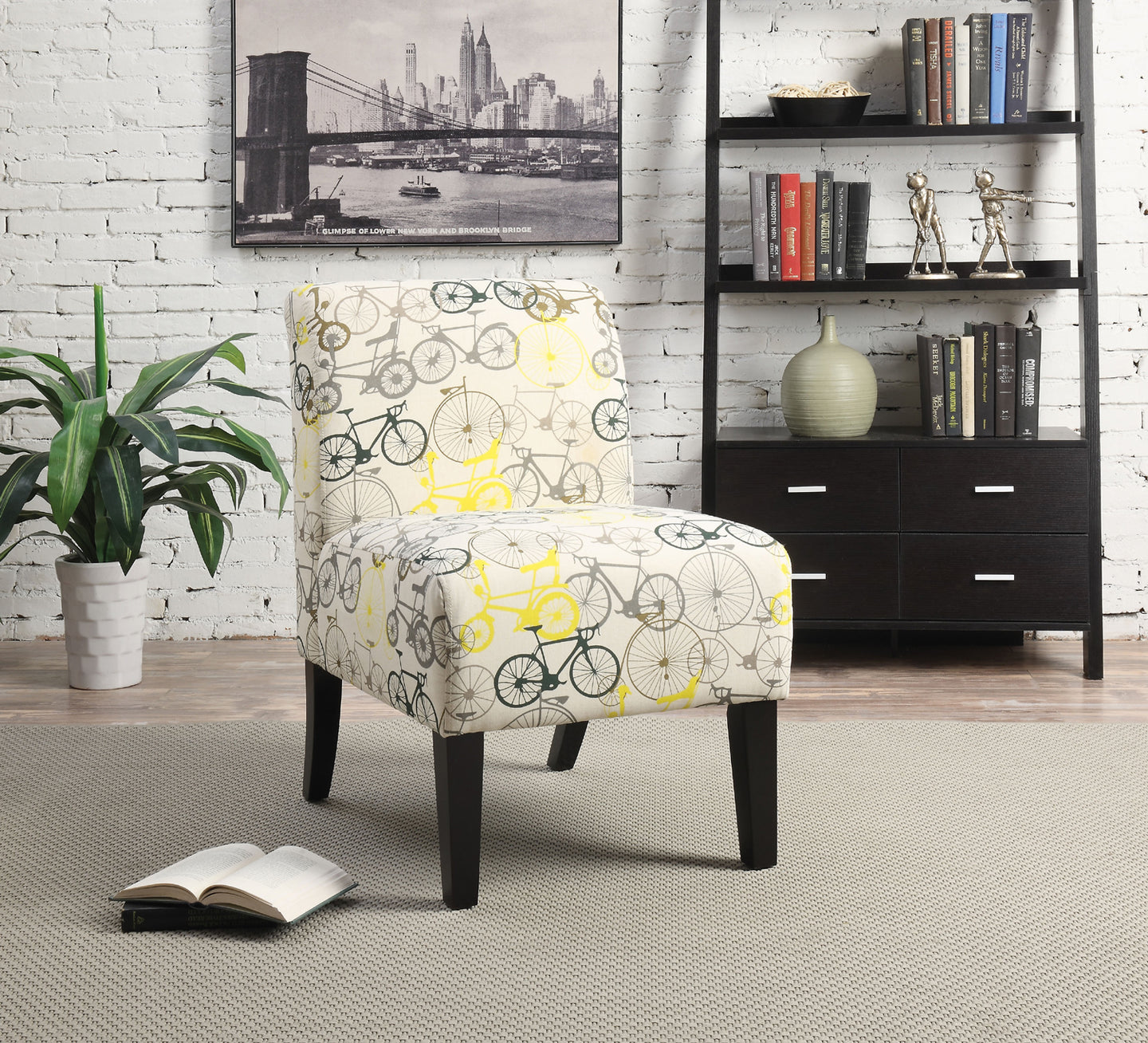 Acme 59438 Ollano Gray Bike Fabric Finish Accent Chair