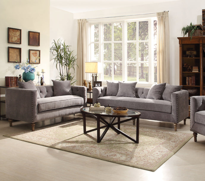Acme Vanora Classic Gray Fabric Sofa Set Loveseat
