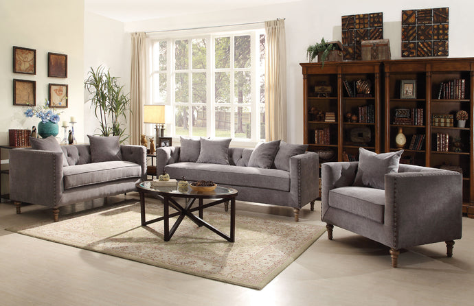 Acme Vanora Classic Gray Fabric Sofa Set Loveseat Chair