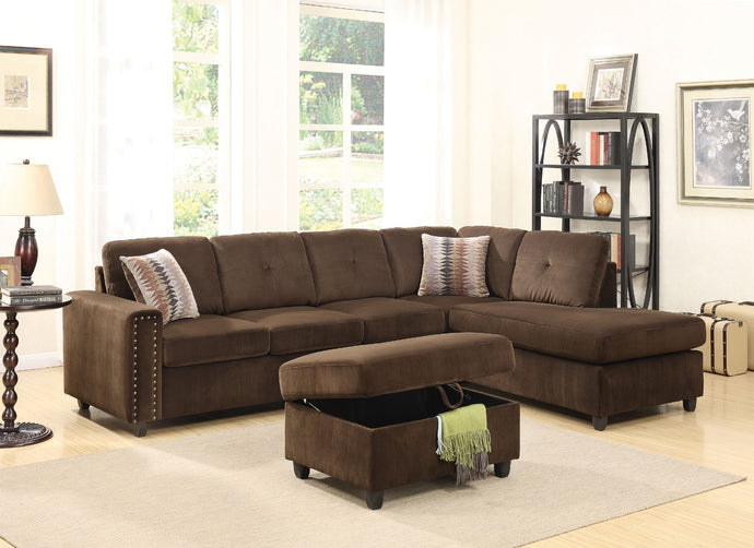 Acme Belville Chocolate Reversible Sectional Sofa Set