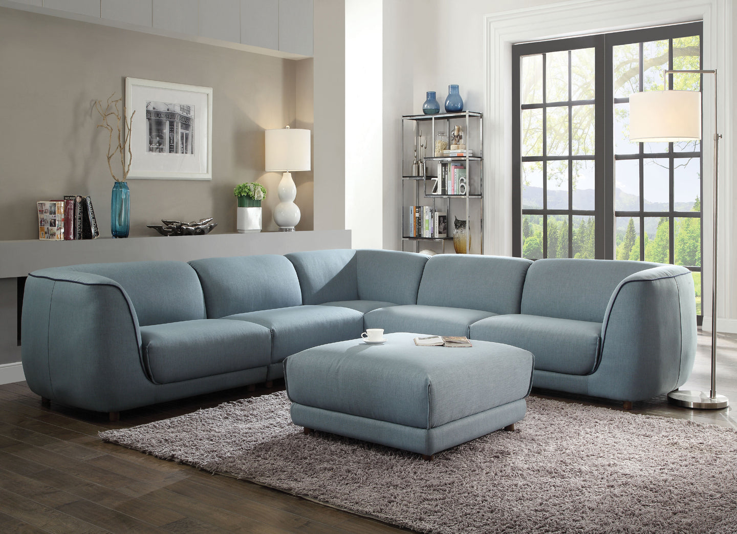 Acme 53725 Adina 5 Pieces Light Blue Fabric Sectional Sofa Set