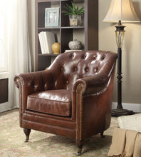 Load image into Gallery viewer, Acme Aberdeen Vintage Dark Brown Leather Accent Chair