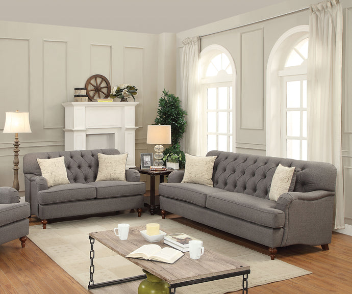 Acme Alianza Dark Gray Fabric Sofa Set Loveseat
