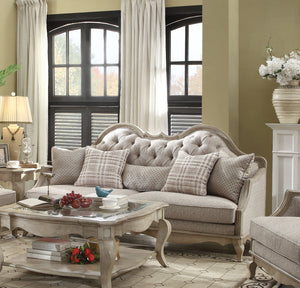 Acme 56050 Chelmsford Antique Taupe Beige Fabric Sofa