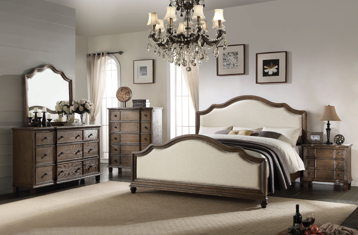 Acme 26110Q Baudouin 4 Pieces Weather Oak Queen Bedroom Set
