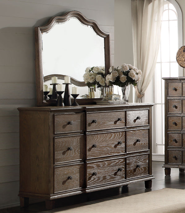 Acme Baudouin Weather Oak Drawer Dresser And Mirror